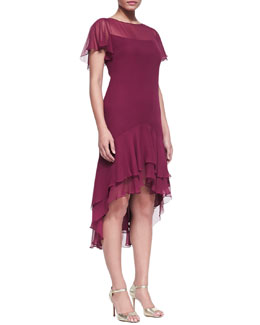 Notte by Marchesa Women's Flutter-Sleeve Silk Dress