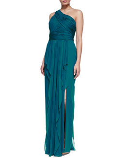 Notte by Marchesa One-Shoulder Chiffon Gown, Peacock