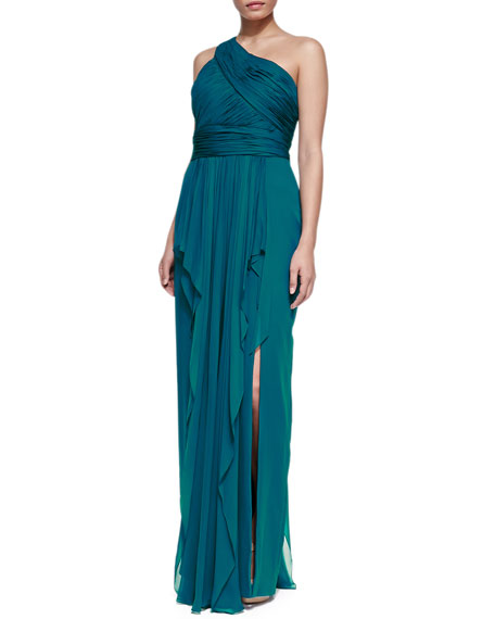 One-Shoulder Chiffon Gown, Peacock