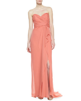 Notte by Marchesa Strapless Ruched Bodice Gown, Salmon