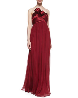 Notte by Marchesa Strapless Chiffon Gown with Bow, Crimson