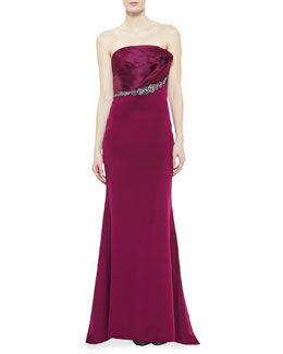 Notte by Marchesa Strapless Asymmetric Fold Bodice Gown, Raspberry