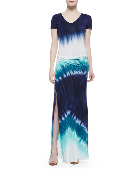 Soft-Jersey Short-Sleeve Maxi Dress, Navy Macaw Wash