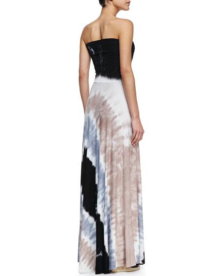 Bangal Strapless Maxi Tie-Dye Dress