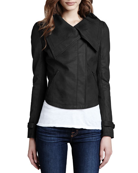 Faux-Leather Shawl-Collar Jacket