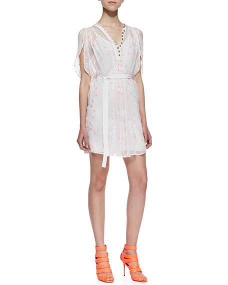 Short-Sleeve Silk Mini Caftan Dress