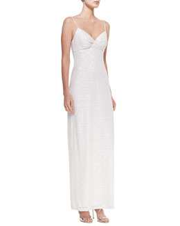 Aidan by Aidan Mattox Sleeveless Sequined Column Gown, Ivory