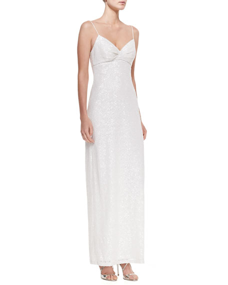 Sleeveless Sequined Column Gown, Ivory