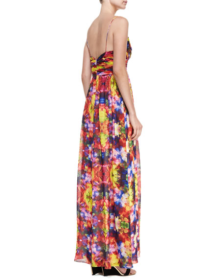Sleeveless Floral Maxi Dress, Multicolor