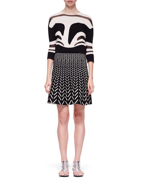 Fit-and-Flare Chevron Skirt, Black/White