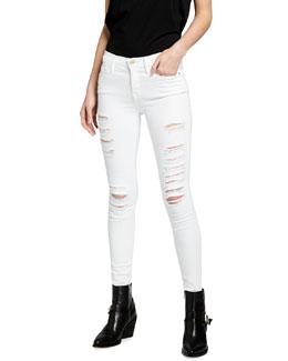 FRAME Le Color Rip Skinny Jeans, Film Noir