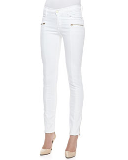 Frame Denim Le Skinny Zip-Pocket Jeans, Blanc