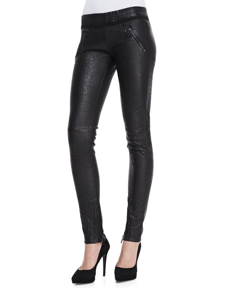 Snake-Print Leather Pull-On Skinny Pants