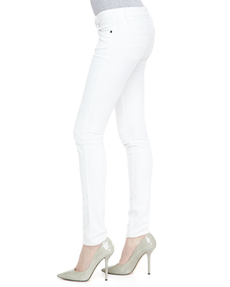 Knee-Slit Skinny Jeans, Optic White