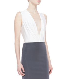 Donna Karan Sleeveless Drape Bodysuit, Gypsum