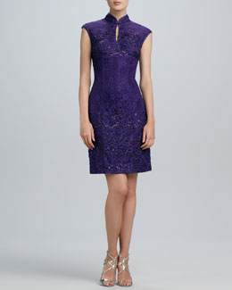 Sue Wong Mandarin-Collar Beaded Lace Dress