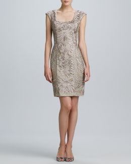 Sue Wong Fitted Embroidered Cap-Sleeve Dress