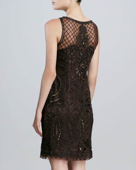 Sleeveless Embroidered Cocktail Dress