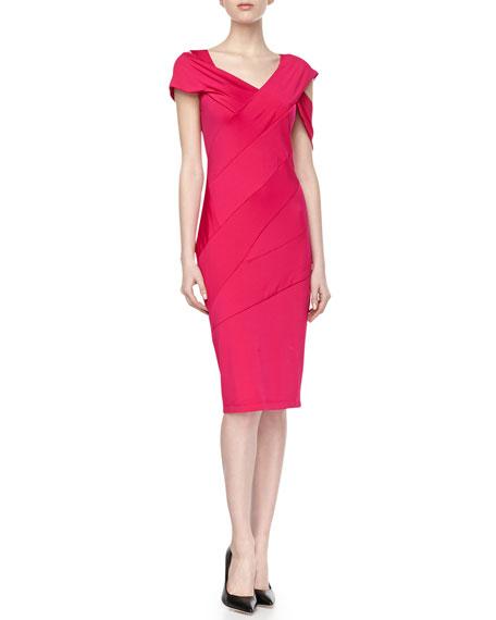 Off-Shoulder Jersey Dress, Shocking Pink