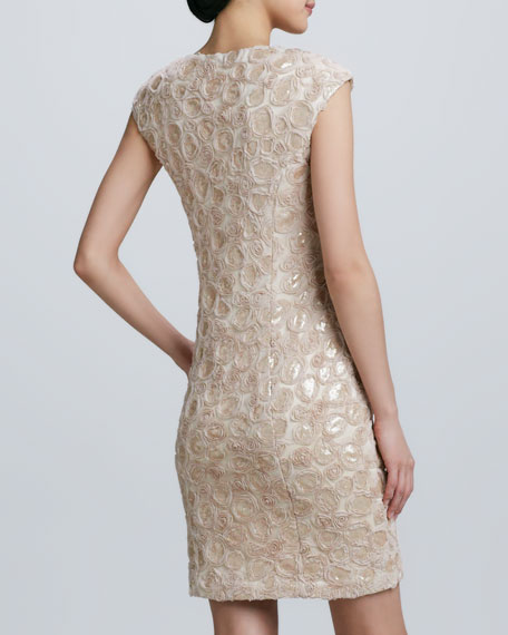 Sequined Embroidered Cocktail Dress