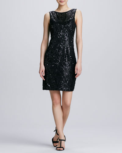 Sue Wong Jewel-Neck Sequined Cocktail Dress