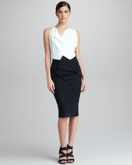 Donna Karan Asymmetric Draped Skirt