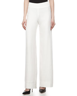 Donna Karan Wide-Leg Trousers, Gypsum