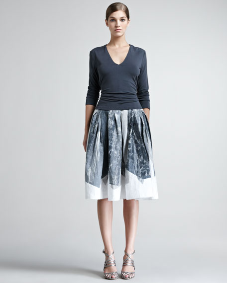 Crystal-Print A-Line Skirt