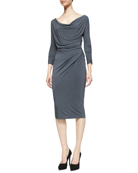 Draped Scoop-Neck Jersey Dress