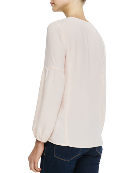 Moonlight Embroidered Silk Blouse
