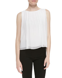 Alice + Olivia Gathered Silk Tank Top