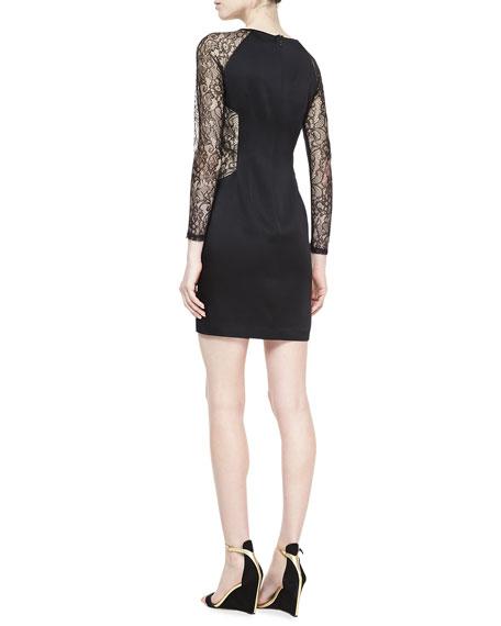 Long-Sleeve Satin Sheath Dress