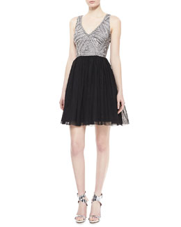 Aidan Mattox Sleeveless Beaded Bodice Cocktail Dress, Black/Silver