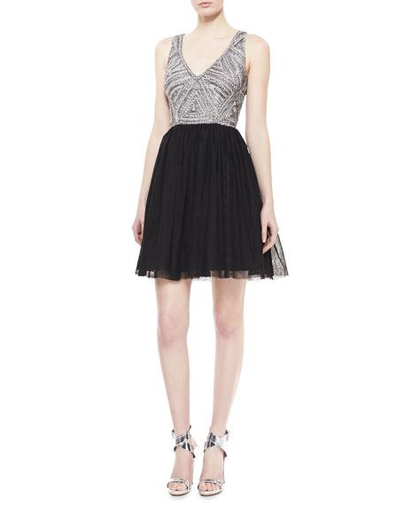 Sleeveless Beaded Bodice Cocktail Dress, Black/Silver