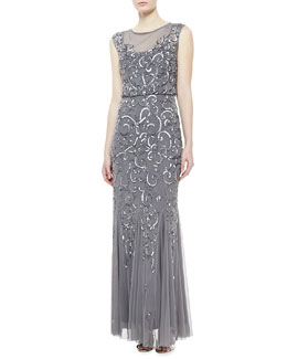 Aidan Mattox Sleeveless Beaded Gown, Gunmetal