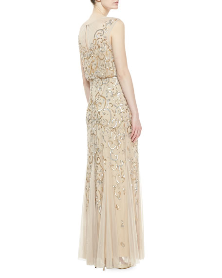 Sleeveless Beaded Gown, Gold/Silver