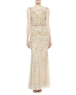 Aidan Mattox Sleeveless Beaded Gown, Gold/Silver