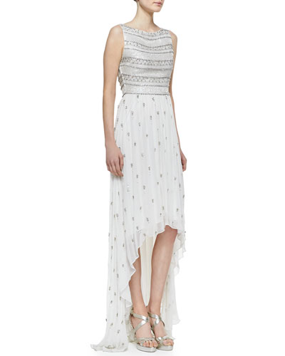 Alice + Olivia Gore Beaded Silk High-Low Gown