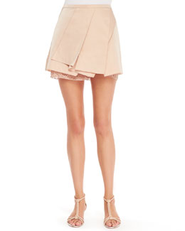 No.21 Asymmetric Layered Skirt, Nude