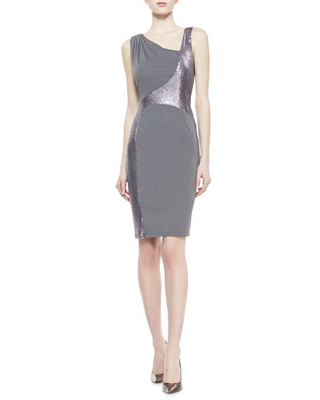 Sleeveless Metallic Swirl Dress, Gray/Silver