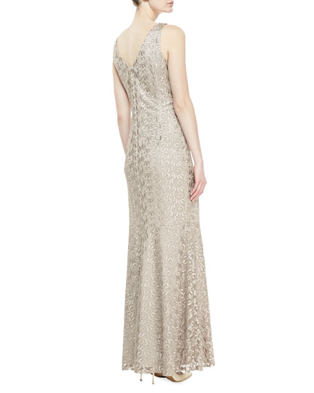 Sleeveless V-Neck Embroidered Gown, Taupe