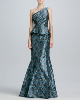 David Meister One-Shoulder Peplum Gown