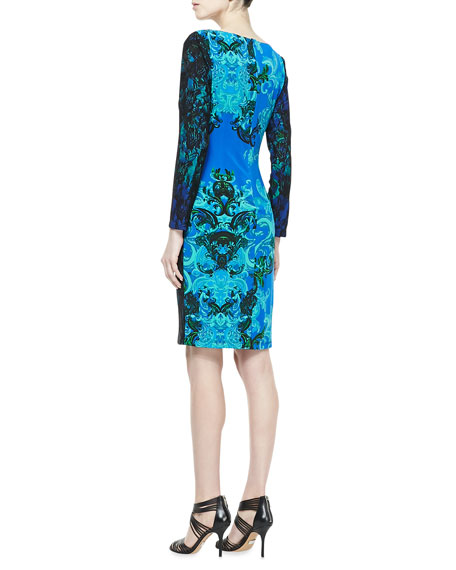 Long-Sleeve Contrast Print Dress, Turquoise/Black