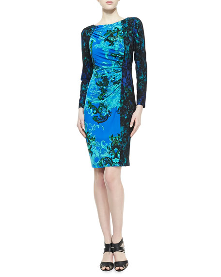Long-Sleeve Contrast Print Dress, Turquoise/Black
