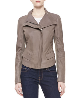 Neiman Marcus Long-Sleeve Leather Jacket