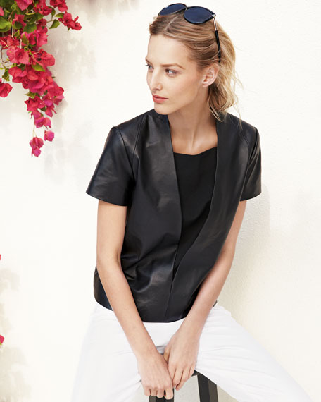 Leather Short-Sleeve V-Front Top