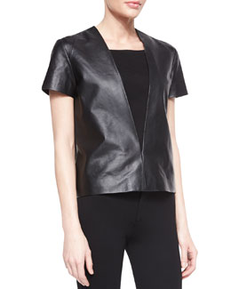 Neiman Marcus Leather Short-Sleeve V-Front Top