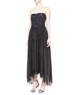 Donna Karan Strapless Shard-Embellished Gown, Black