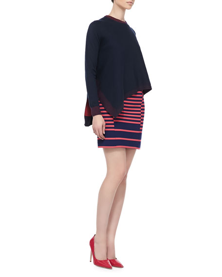 Shifted-Stripe Mini Skirt