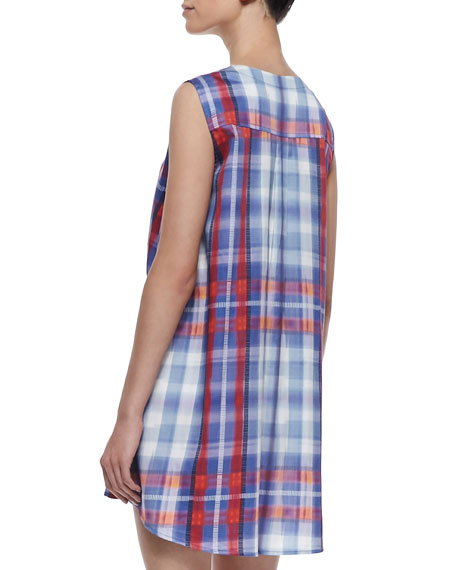 Cinched Waist Cape Back Dress, Blue/Red